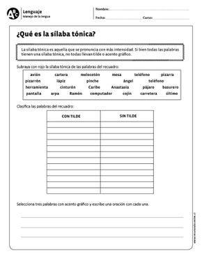 Qué Es La Sílaba Tónica Clasificación De Palabras Silabas Tonicas Y Atonas Ejercicios De Silabas