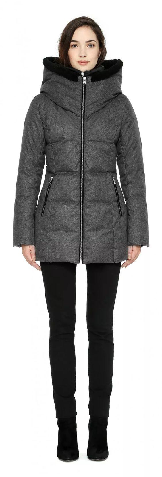 PEARLIE Car coat length brushed down coat in Ash | верхняя одежда