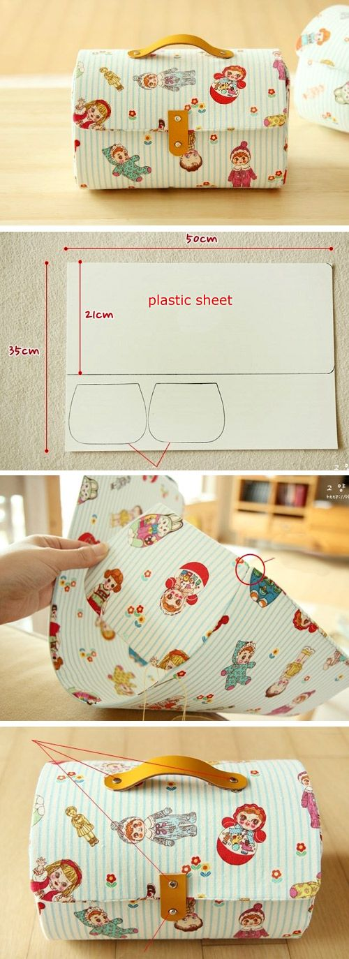 Storage box bag with cover. Pattern & PhotoTutorial http://www.free-tutorial.net/2016/12/storage-box-bag-tutorial.html: