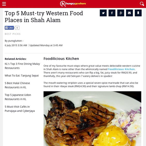 Salam Aidilfitri Everyone Just Want To Share Foodiliciouskitchen Is Top 5 Must Try Western Food Places In Shah Alam By Hungry Go W Western Food Food Food F
