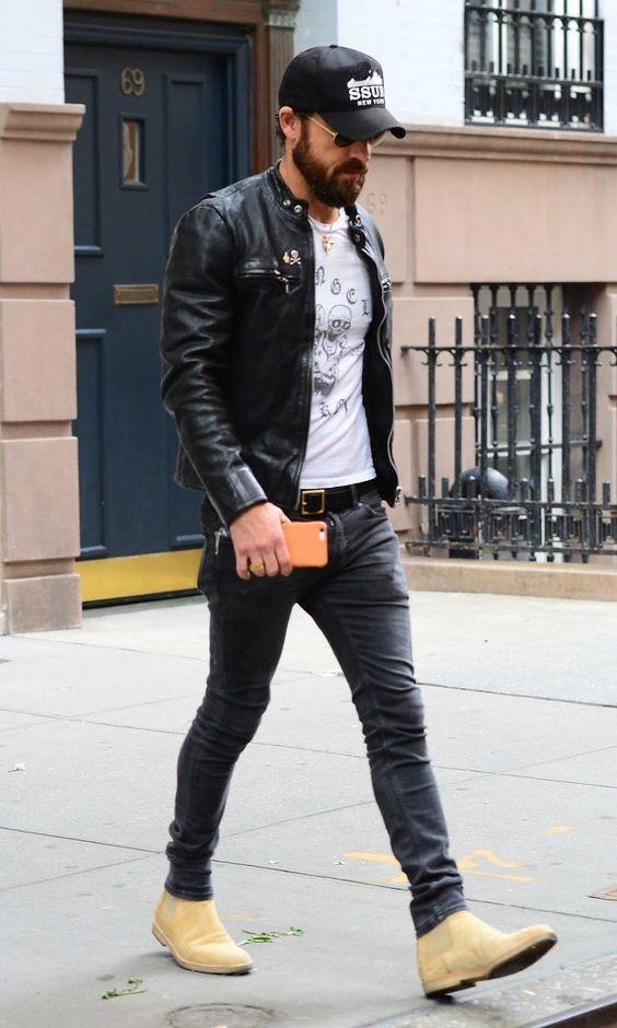 look jean veste noir homme