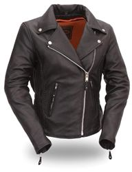 Feel the quality of the premium cowhide leather motorcycle jacket for women that is soft and so comfortable you wont want to take it off! Front and back braiding and rivet detailing on back give a classic motorcycle look. Elasticized waist to give that hourglass shape.