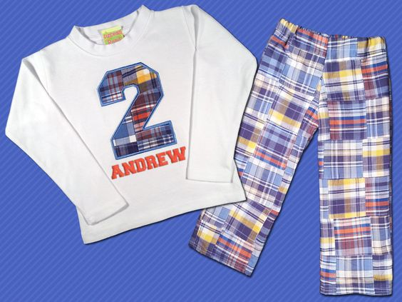 Birthday Boy's Blue Number Top with Name and by SunbeamRoad, $42.50