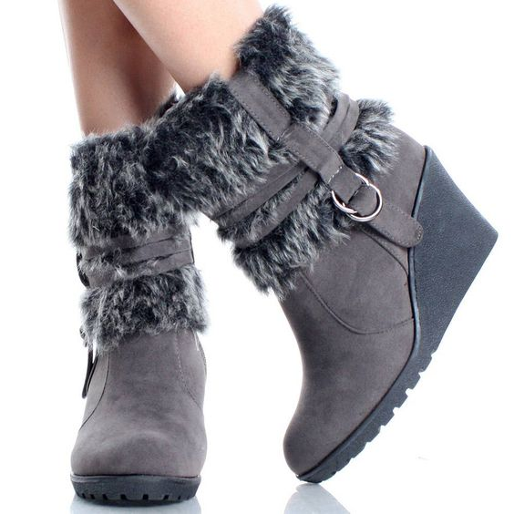 Canada Goose down online fake - Gray Wedge Boots Snow Winter Fur Furry Mukluk Cute Womens High ...