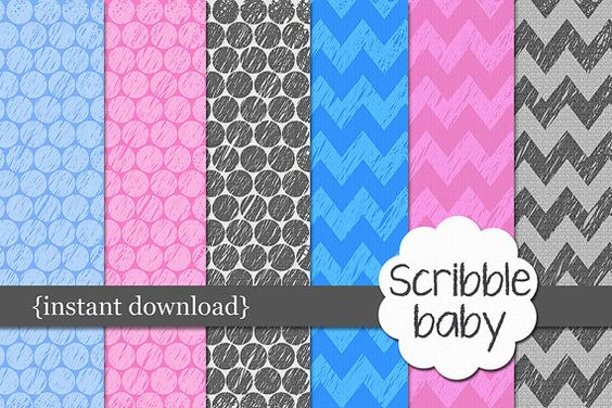 Instant Download Scribble Baby Digital Paper $2.00