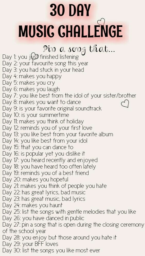 1 2 3 4 5 6 7 8 9 10 11 12 13 14 15 16 17 18 19 20 21 22 Music Challenge 30 Day Song Challenge 30 Day Music Challenge