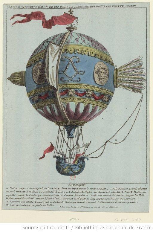 Projet d'un superbe balon de 120 pieds de diamètre qui doit être enlevé à Dijon : [estampe] - 1