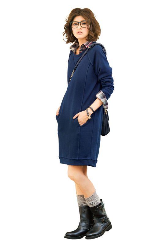 Fashion collection[ファッションコレクション]|ミルブロウズ ボクシーラインでらくして美人なふっくら裏起毛のスウェットドレスの会(3回限定コレクション)|フェリシモ