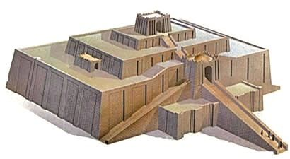 Zigurate em Ur : Por causa da escassez de madeira na Suméria, apenas os tijolos externos do zigurate foram cozidos em forno e, portanto, à prova d'água. Os interiores das paredes estavam cheias de barro e tijolos secos ao sol.