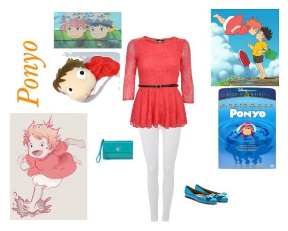 """Ponyo by Studio Ghibli"" by miss-kitty903 on Polyvore featuring 7 For All Mankind, Pilot, Salvatore Ferragamo and Croft & Barrow"