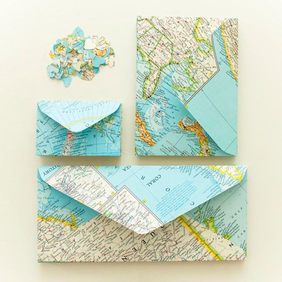 envelopes made out of maps