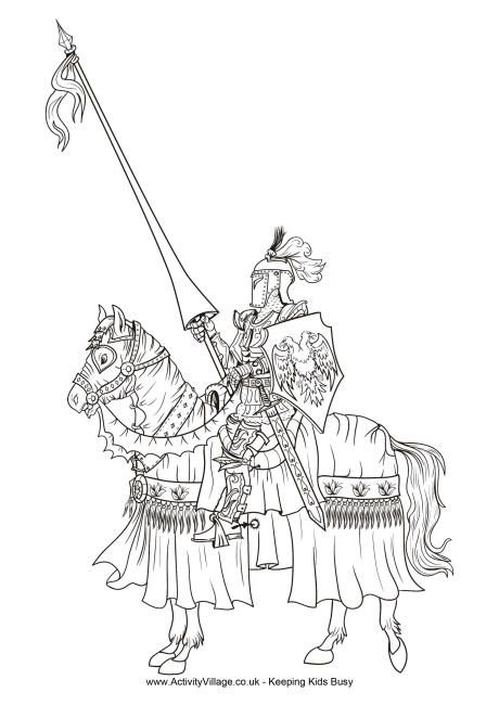 Knight colouring page