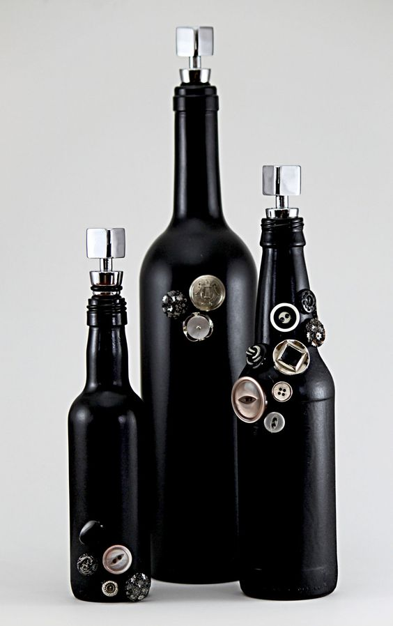 Black Decorative Bottle Set: