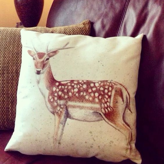 Fallow Deer Cushion designed by Kerry Dawn Illustration