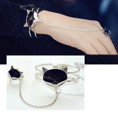 Fashion Women Girl Punk Jewelry Fox Charm Bracelet Open Bangle Cuff Joint Ring