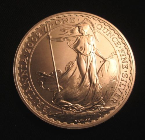 Bullion 2002 Great Britain 1 Oz Silver Britannia Bu Rare Silver Coin Silver Coins Bullion Coins