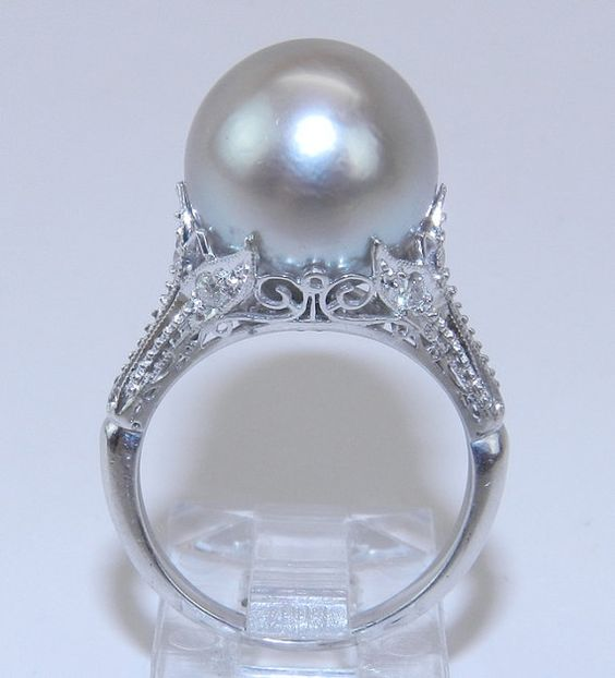 Antique 14K White Gold Filigree Diamond & Gray South Sea Pearl Engagement