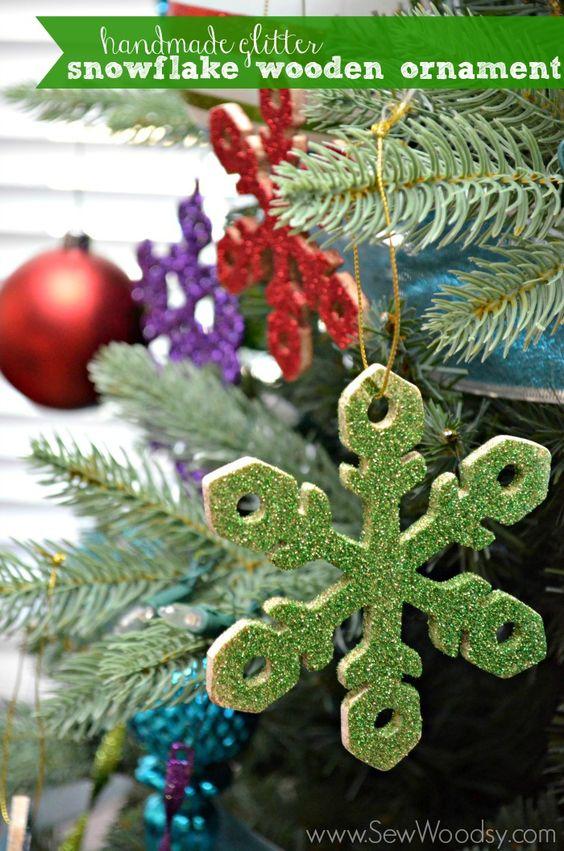 handmade glitter snowflake wooden ornament by @Katie Schmeltzer Schmeltzer Jasiewicz