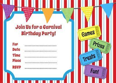 Printable Circus Templates Blank Circus Invitations Templates - Party invitation template: carnival theme party invitations templates