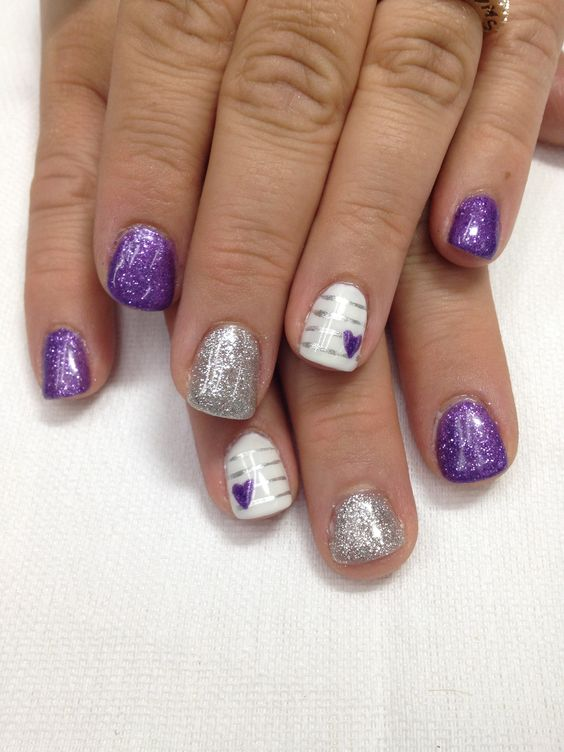 Super cool design! Purple Pigment powder & glitter added to gel, silver sparkle & plain white gel complete this look! I love this one! All gel is non-toxic and odorless.
