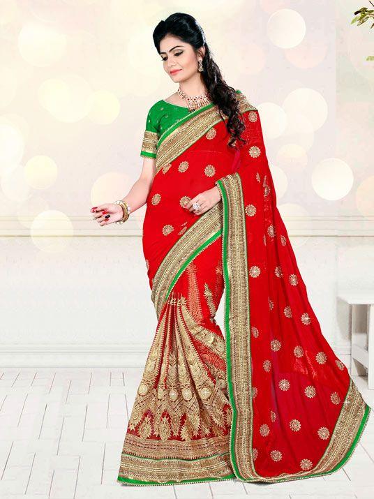 Red Georgette Wedding Saree 63422