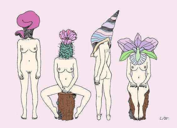 Mulheres peladas, gordas, negras, lésbicas, sem um dos seios ou sem uma das pernas compõem os desenhos da ilustradora.