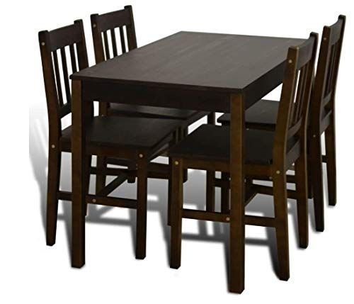 Indfurn Brown Kitchen Table Chairs Classic Wooden Dining Set 4
