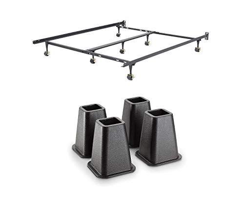 Modern Sleep Hercules Universal Heavy Duty Adjustable Metal Bed Frame Bundle With Simplify 6 Inch Bed Riser Set Of