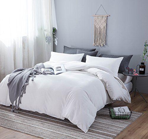 Sleepbella Duvet Cover Set 3 Pieces Washed Cotton Comforter Quilt Cover Off White Queen Best Quilted Co White Duvet Covers Duvet Cover Sets Quilt Comforter