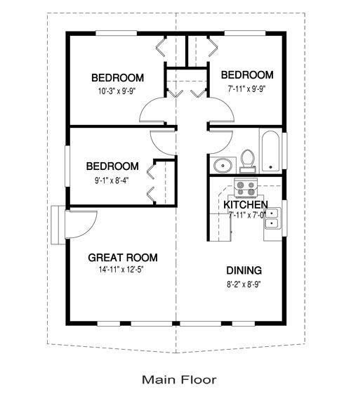 3 Bedroom Tiny House Plans Tiny House Plans House Plans 3 Bedroom House Plans One Story