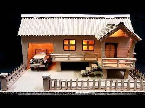 Cardboard And Popsicle Stick Mansionhousevilla Youtube