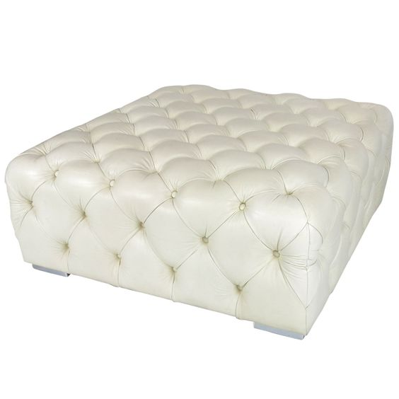 Large Tufted Leather Ottoman On Chrome Feet | From a unique collection of antique and modern ottomans and poufs at https://www.1stdibs.com/furniture/seating/ottomans-poufs/