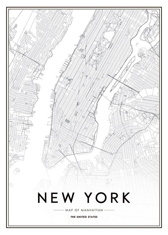 New York City Map Poster : poster, Poster, Desenio.com, Poster,, York,