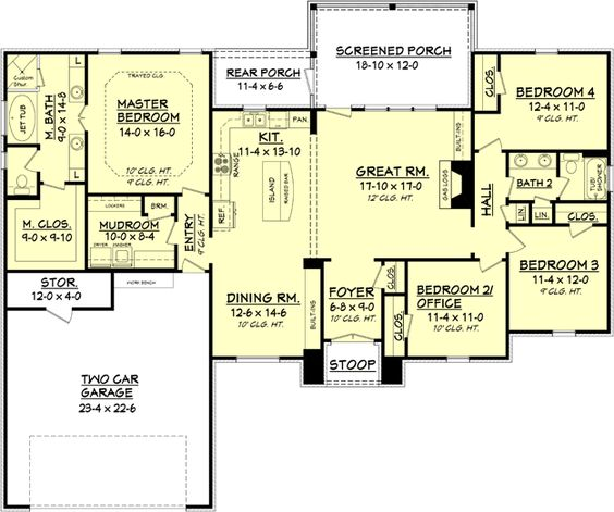 House plan 041 00082 european plan 2 000 square feet 4 for 1600 sq ft open concept house plans