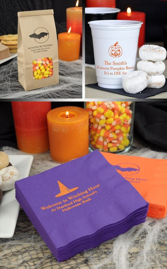 personalized halloween decorations and favors will make your halloween wedding reception or party a spectacular - Personalized Halloween Decorations