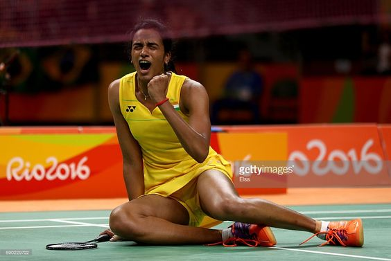 V. Sindhu Pusarla of India celebrates her win over Yihan Wang of China on Day 11 of the Rio 2016 Olympic Games at Riocentro - Pavilion 4 on August 16, 2016 in Rio de Janeiro, Brazil.