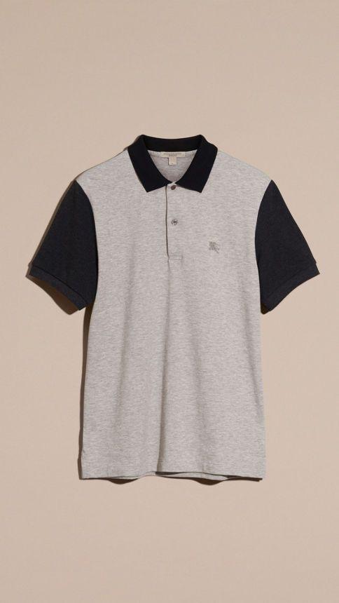 Pale grey melange Camisa polo de algodão piquê com estampa colour block Pale Grey Melange - Imagem 2