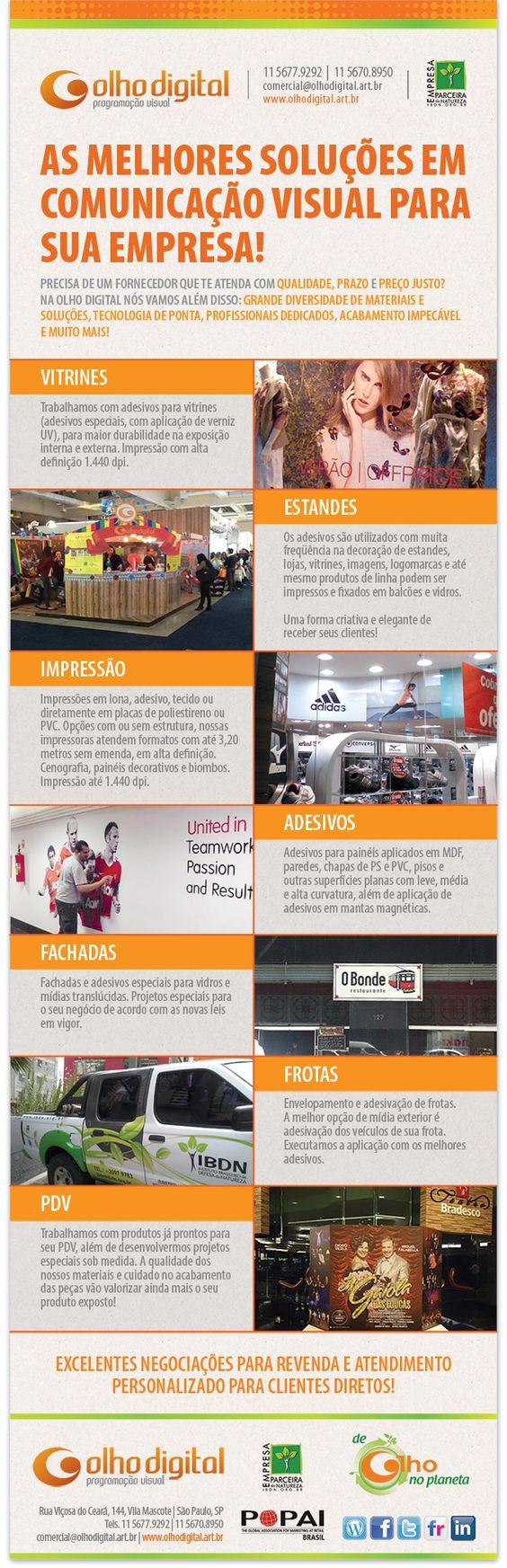 Comunicação Visual completa - agende uma visita de apresentação - comercial@olhodigital.art.br - 11 56779292