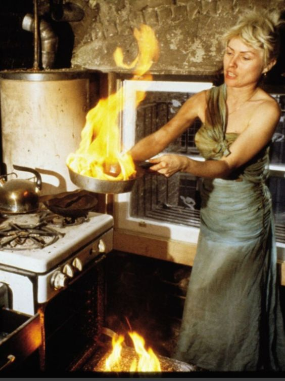 Debbie Harry Blondie cooking in Marilyn Monroe's burnt dress
