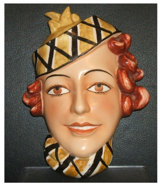 SUPERB ART DECO GOEBELS FACE WALL MASK