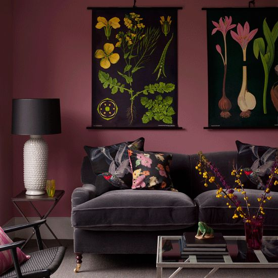 Reddish mauve paint color for an accent wall dream home for Mauve living room ideas