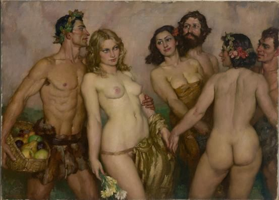 Norman LINDSAY Springs Innocence 1937  Oil on Canvas  66.8 x 92.5 cm:
