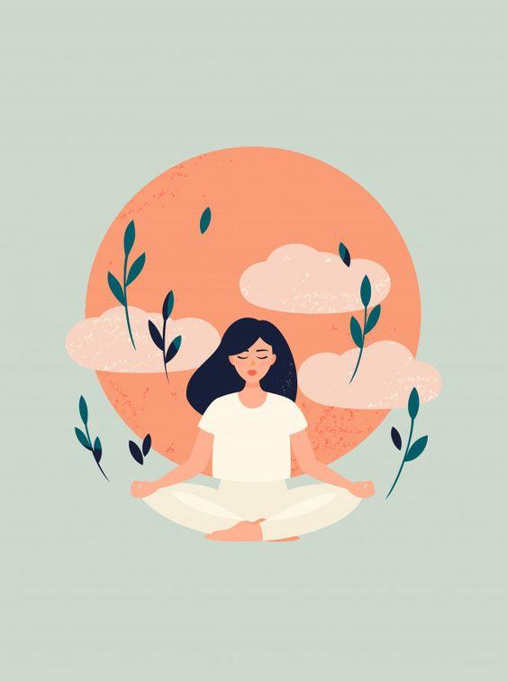 Illustration of yoga girl meditation wit... | Premium Vector #Freepik #vector #tree #people #love #nature