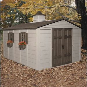 """Suncast®  10' x 12.5' Storage Building  Beyond the usual storage, this appealing resin design features dimensional shingle roof, siding, sturdy resin floor, four windows with flower boxes and a cupola, extra-wide front opening measuring 4'8""""W x 5'8.75""""H, lockable door with upper and lower latches, and skylight for bright interior. Large panels assemble quickly. Taupe/Bronze. 775 cu. ft. capacity."""