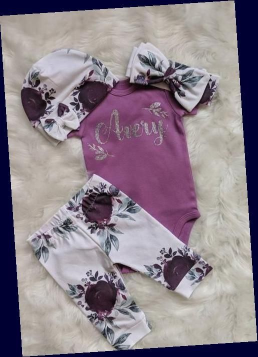 Baby Girl Name Bodysuit and Floral Leggins Floral Headband Personalized Name Bodysuit Leggings and Headband Baby Name Initial