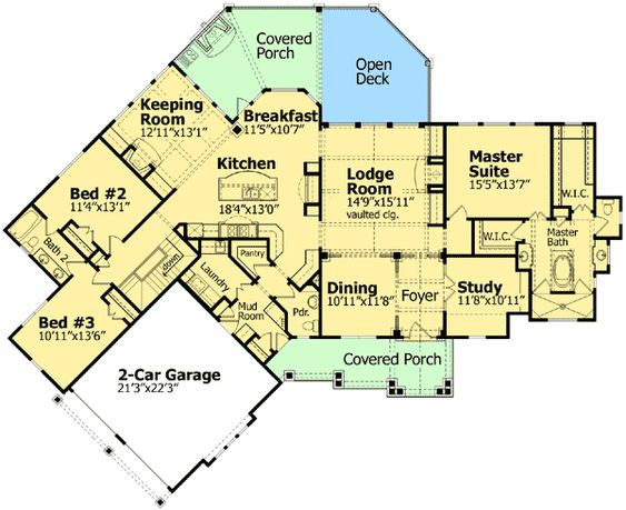 Ranch home plans floors and ranch homes on pinterest for Mountain vacation house plans