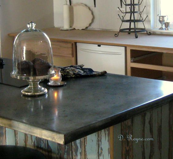 Patina zinc countertops kitchen pinterest for Zinc kitchen countertop