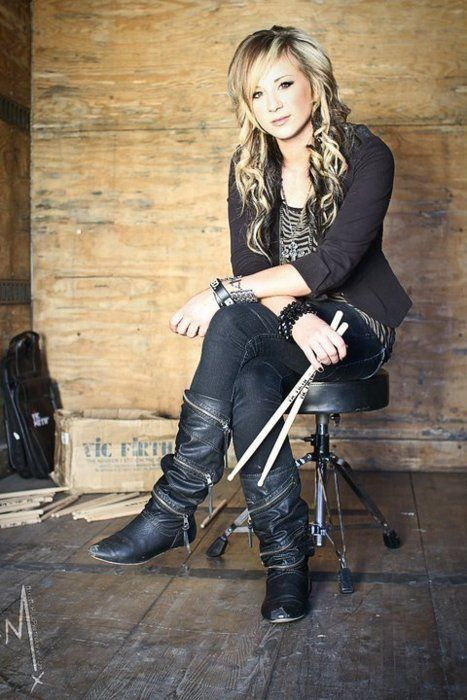 Band Photography inspiration - love the background & her just chilling w/ her drumsticks