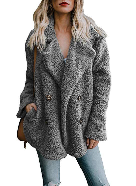 Women Winter Pocket Fluffy Coat Fleece Fur Jacket Outerwear Hoodie Wrap Overcoat