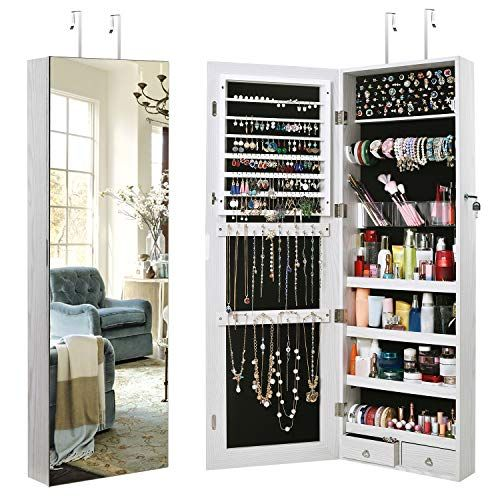 Tomcare Jewelry Cabinet Jewelry Armoire Wall Door Mounted Jewelry